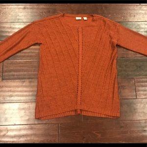 Cato pointelle rust pumpkin sweater hi low